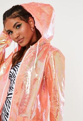 Missguided Peach Iridescent Zip Through Rain Mac