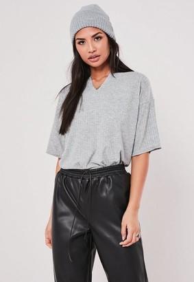 Missguided Rib Notch Neck T Shirt