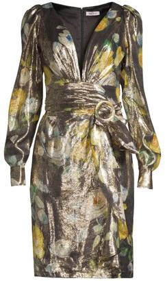 Flor Et. Al Maiden Belted Metallic Floral Wrap Dress