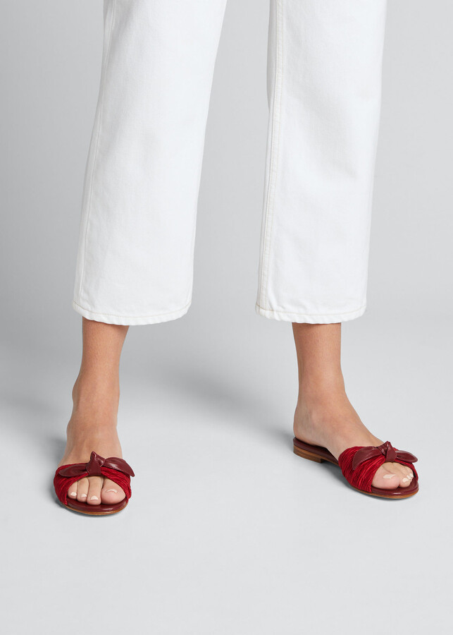 Thumbnail for your product : Manolo Blahnik Notamu Pleated Knotted Bow Flat Sandals