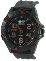 Crosshatch Men's Quartz Watch with Black Dial Analogue Display and Black Silicone Strap CRS17/A