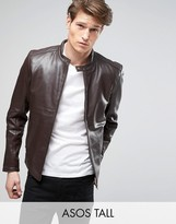 Asos TALL Leather Biker Jacket in Brown