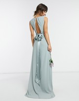 Thumbnail for your product : TFNC bridesmaid plunge front bow back maxi dress in sage