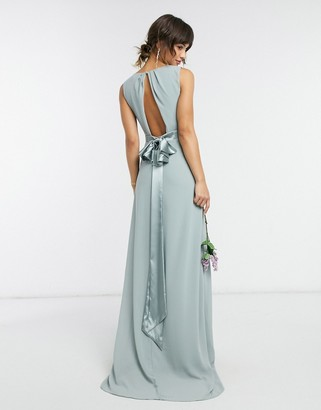 TFNC bridesmaid plunge front bow back maxi dress in sage