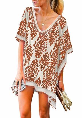 Happy Sailed Womens Pom Swimsuit Cover Up for Women Chiffon Beach Coverup Dress Stylish Kaftan Summer Size 8