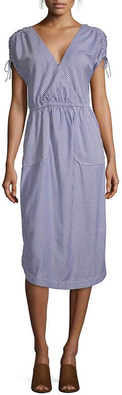 b836a204d13 PEYTON & Peyton & Short Sleeve Striped Wrap Dress