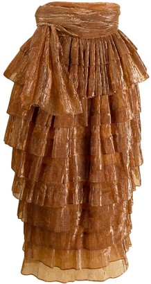 Romeo Gigli Pre Owned 1990's Ribbed Ruffled Midi Skirt
