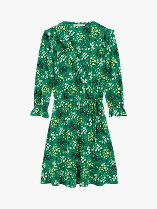 Oasis Ditsy Ruffle Floral Wrap Mini Dress