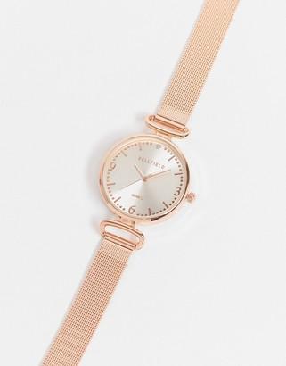 Bellfield mesh bracelet watch in rose gold