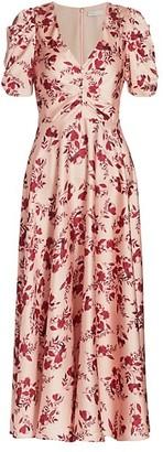 ML Monique Lhuillier Floral Printed Midi Dress