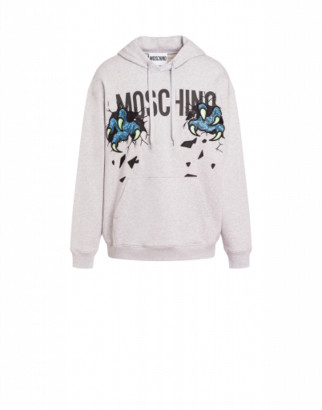 Moschino Monster Hands Cotton Sweatshirt Man Grey Size 44 It - (34 Us)