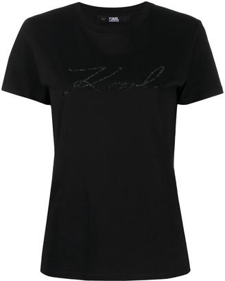 Karl Lagerfeld Paris Karligraphy crystal cotton T-shirt