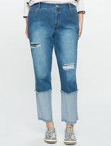 ELOQUII Plus Size Cropped Distressed Jeans
