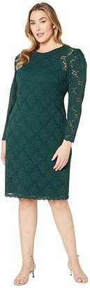 Lauren Ralph Lauren Plus Size Floral Lace Stretch Dress (Dark Fern) Women's Clothing