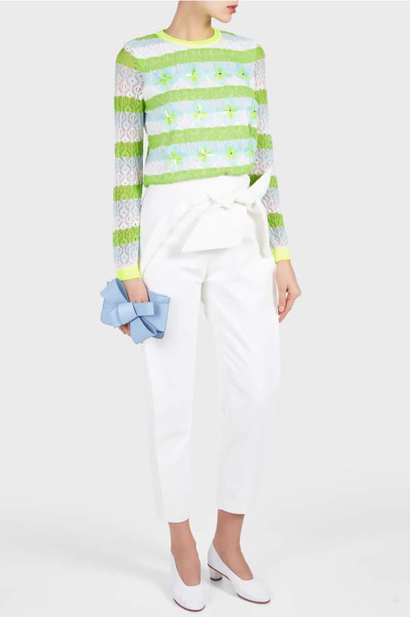DELPOZO Lace Knit Sweater