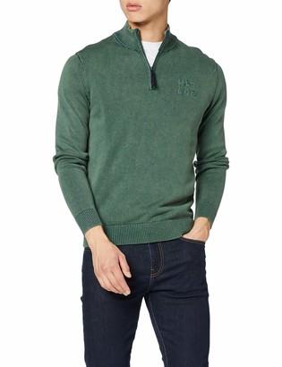 Hkt By Hackett Hackett London Men's Hkt Washed Half Zip Jumper Dark Green 675) X-Large