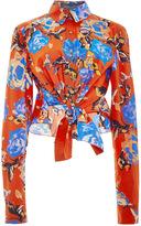 Monique Lhuillier Painted Rose Front Tie Button Up Blouse