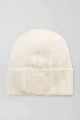 Moncler Appliqued Wool And Cashmere-blend Beanie - Ivory