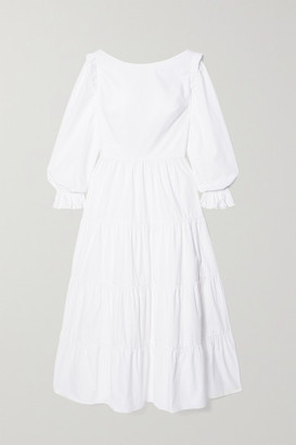 SEREN Tabby Ruffled Tiered Cotton-poplin Midi Dress - White