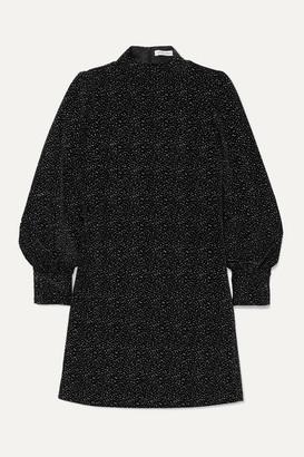 Bella Freud Valley Of The Dolls Glittered Cotton-velvet Mini Dress - Black