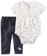 Carter's Size 3M 2-Piece Icon Print Bodysuit and Faux Denim Pant Set