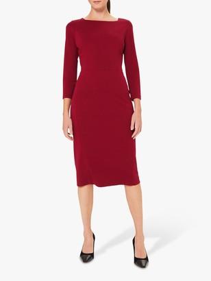 Hobbs Kelly Ponte Dress, Dark Raspberry