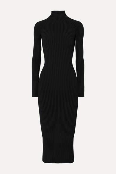 Dion Lee Cutout Ribbed-knit Midi Dress - Black