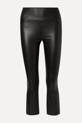 Sprwmn Cropped Leather Flared Pants - Black
