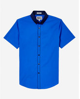 Express fitted easy care contrast collar short sleeve 1MX shirt