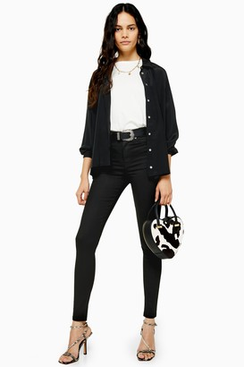 Topshop Womens Tall Black Coated Jamie Jeans - Black