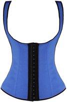 Camellias Corsets Camellias Women's 3 Hook Long Deportiva Latex Vest Waist Training Body Shaper, CA-1991-Blue-S
