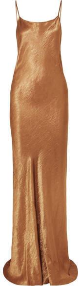 Ann Demeulemeester Hammered-satin Maxi Dress - Bronze