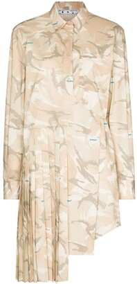 Off-White x Browns 50 camouflage pleated mini dress
