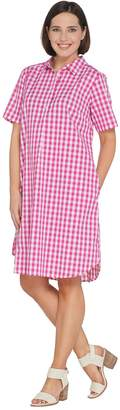 Joan Rivers Classics Collection Joan Rivers Petite Length Short Sleeve Button Front Gingham Dress