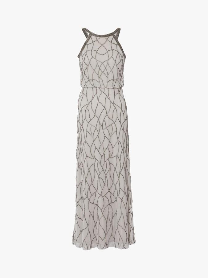 Thumbnail for your product : Gina Bacconi Zalenta Beaded Maxi Dress, Silver