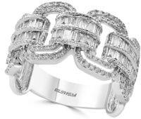 Effy Super Buy 14K White Gold and Baguette Diamond Link Ring