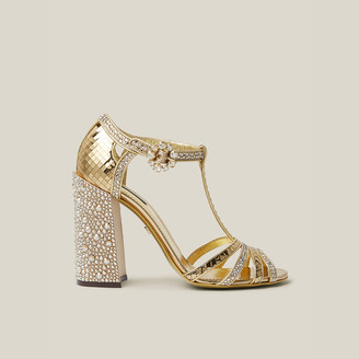 Dolce & Gabbana Gold Glittering Crystal-Embellished Leather Sandals Size IT 40