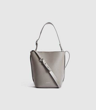 Reiss Hudson Mini - Leather Mini Bucket Bag in Grey
