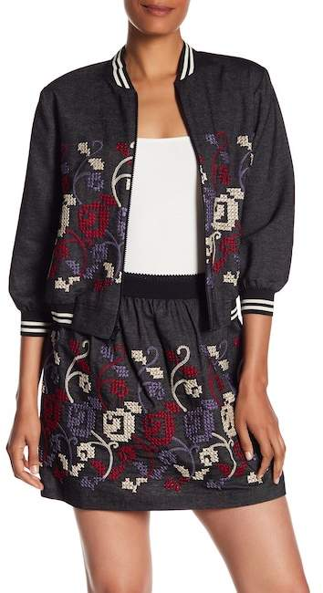 Anna Sui Cross Stitch Emboridery Denim Jacket