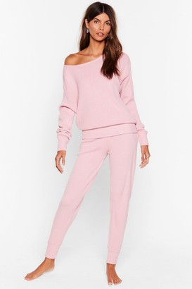 Nasty Gal Womens Weekend Loading Knit Jumper and Joggers Lounge Set - Pink - S