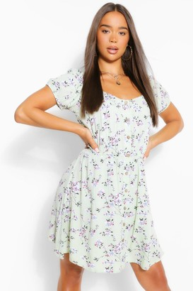 boohoo Floral Scoop Neck Skater Dress