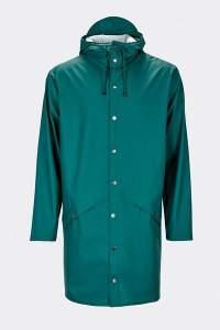 Rains Dark Teal Unisex Long Jacket - L/XL - Teal