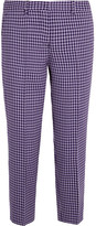 Miu Miu Cropped Checked Wool Straight-leg Pants - Purple