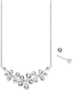 Eliot Danori Crystal Flower Statement Necklace & Stud Earrings Set, Created for Macy's