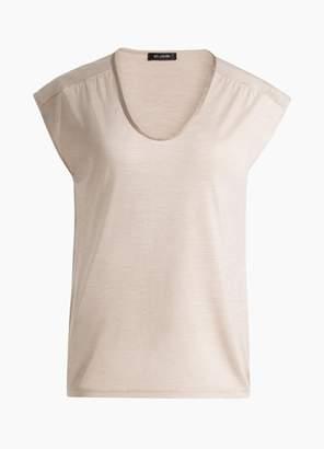 St. John Silk Jersey Scoop Neck T-Shirt