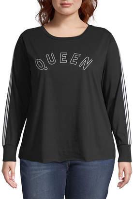 Cut And Paste Juniors Plus-Womens Crew Neck Long Sleeve T-Shirt