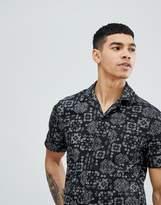 Religion Short Sleeve Revere Shirt With Bandana Print