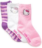 Hello Kitty Kids Socks, Girls EDV 3 Pack Crew Socks