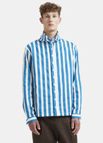 Sunnei Striped Drawstring Collar Shirt in Turquoise and White