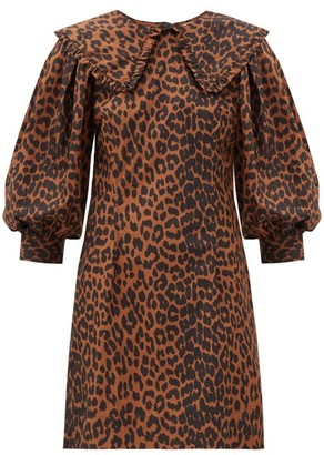 Ganni Ruffled-collar Leopard-print Cotton-poplin Dress - Brown